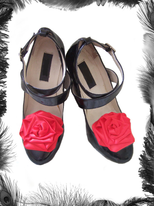 Large Satin Rose Shoe Clips, Burlesque Style
