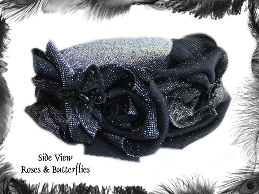 glitter rose butterfly pill box hat