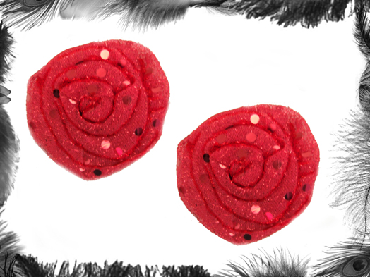 Sequin Rose Nipple Pasties, Burlesque Wear