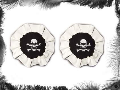 skull pvc nippel pasties burlesque wear