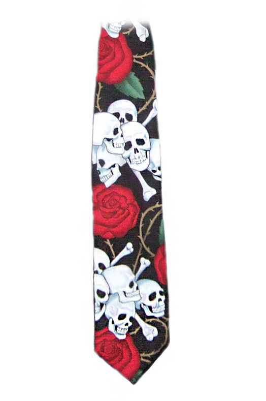 skulls and roses tie, rockabilly