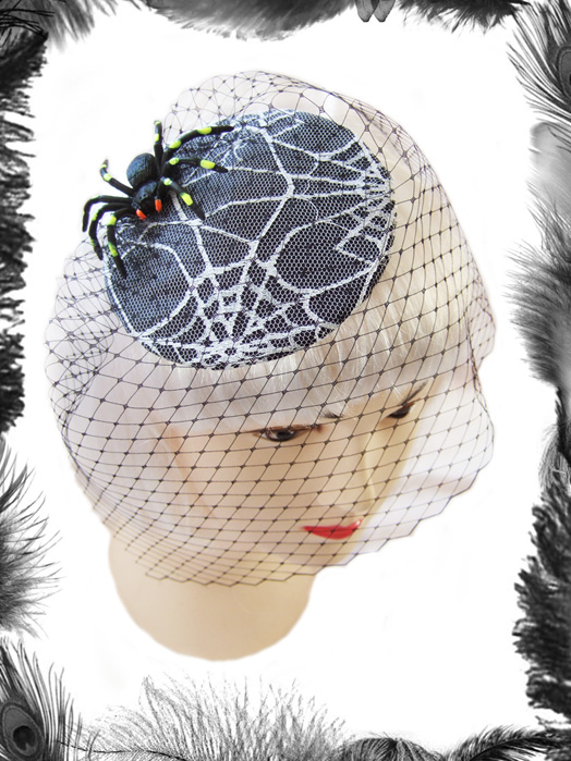 Spider on Spider Web Lace Cocktail Hat, Gothic