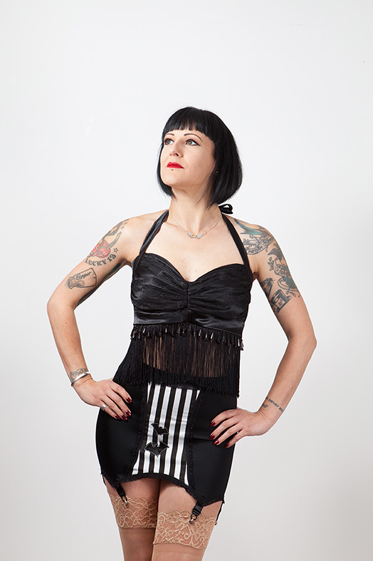 Stripes n Bats Girdle, Gothic, Horror