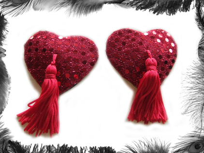 heart sequin nippel tassels burlesque wear
