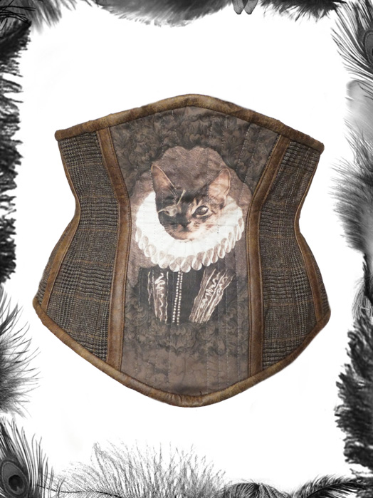 tweed leather pirate cat underbust corset, steampunk corset