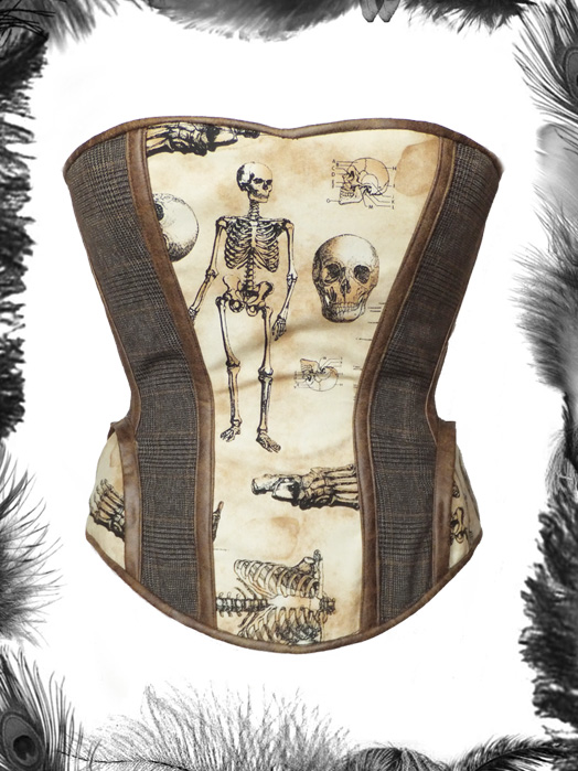 tweed leather and skeleton steampunk corset