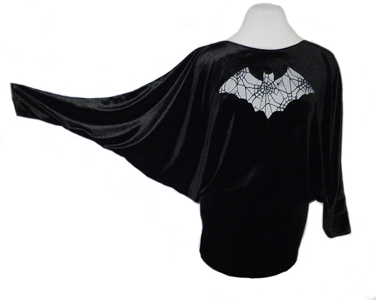 Velvet Bat Wing Top, Mini Dress