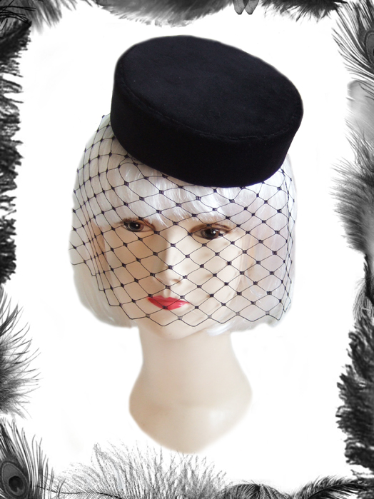 Velvet Pill Box Hat, Vintage Inspired
