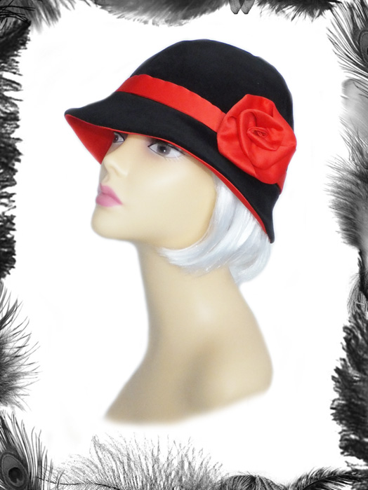 1920s style velvet satin rose cloche hat