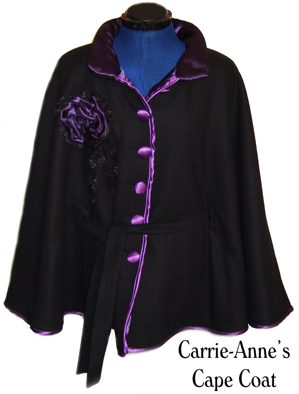 custom wool, fleece and satin cape coat